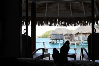 View from my %22lagoon front bungalow%22 to the neighbouring 'over-water bungalows' at 3X the price. The way to go without breaking the budget.
