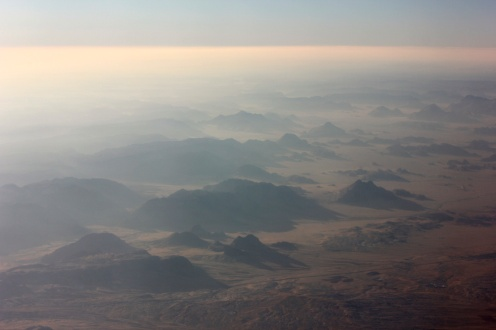The stunning southern Jordanian desert flying from Amman to Aqaba.