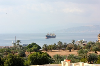 Gulf of Aqaba, Red Sea with Israel in the background.